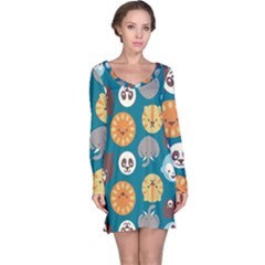 Animal Pattern Long Sleeve Nightdress by Zeze