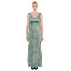 Light Circles, Mint Green Color Maxi Thigh Split Dress by picsaspassion