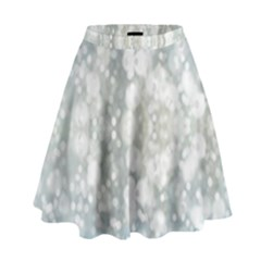 Light Circles, Blue Gray White Colors High Waist Skirt by picsaspassion