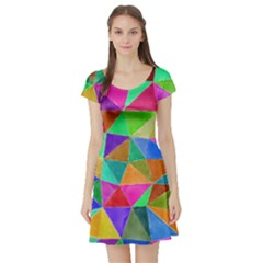 Triangles, colorful watercolor art  painting Short Sleeve Skater Dress