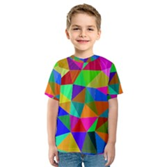 Colorful Triangles, oil painting art Kids  Sport Mesh Tee by picsaspassion