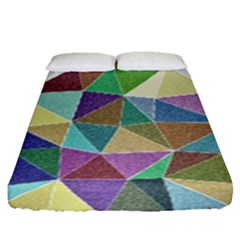 Colorful Triangles, Pencil Drawing Art Fitted Sheet (queen Size)