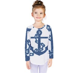 Blue Anchor Oil Painting Art Kids  Long Sleeve Tee