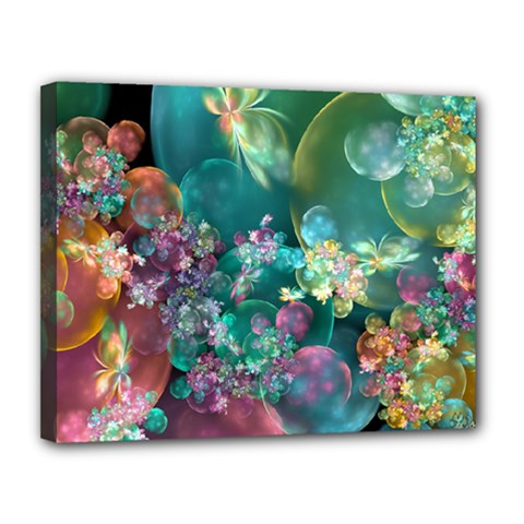Butterflies, Bubbles, And Flowers Canvas 14  X 11  by WolfepawFractals