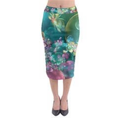 Butterflies, Bubbles, And Flowers Midi Pencil Skirt by WolfepawFractals