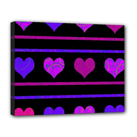 Purple And Magenta Harts Pattern Canvas 14  X 11  by Valentinaart
