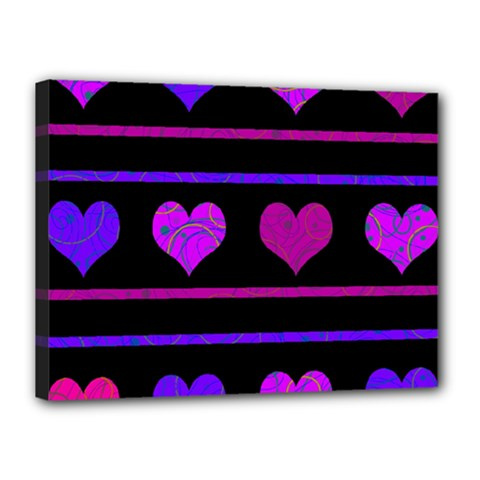 Purple And Magenta Harts Pattern Canvas 16  X 12  by Valentinaart