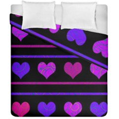 Purple And Magenta Harts Pattern Duvet Cover Double Side (california King Size) by Valentinaart