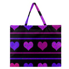 Purple And Magenta Harts Pattern Zipper Large Tote Bag by Valentinaart