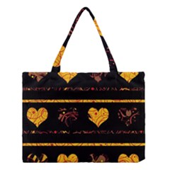 Yellow harts pattern Medium Tote Bag by Valentinaart