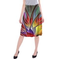 Fractal Bird Of Paradise Midi Beach Skirt by WolfepawFractals