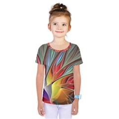 Fractal Bird Of Paradise Kids  One Piece Tee by WolfepawFractals