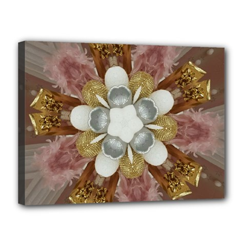 Elegant Antique Pink Kaleidoscope Flower Gold Chic Stylish Classic Design Canvas 16  X 12  by yoursparklingshop