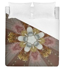 Elegant Antique Pink Kaleidoscope Flower Gold Chic Stylish Classic Design Duvet Cover (queen Size) by yoursparklingshop