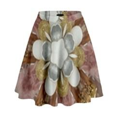 Elegant Antique Pink Kaleidoscope Flower Gold Chic Stylish Classic Design High Waist Skirt by yoursparklingshop