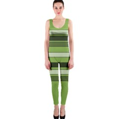 Greenery Stripes Pattern Horizontal Stripe Shades Of Spring Green OnePiece Catsuit by yoursparklingshop