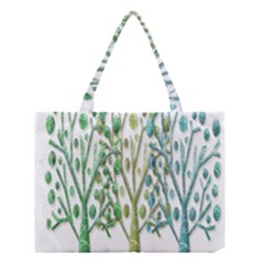 Magical Green Trees Medium Tote Bag by Valentinaart
