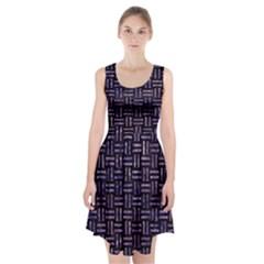 Woven1 Black Marble & Purple Marble Racerback Midi Dress