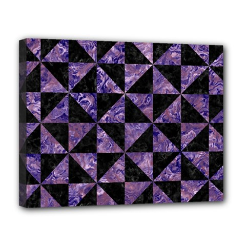 Triangle1 Black Marble & Purple Marble Canvas 14  X 11  (stretched) by trendistuff