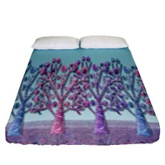 Blue Magical Landscape Fitted Sheet (queen Size)