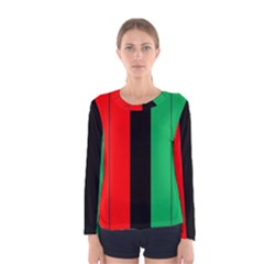 Kwanzaa Colors African American Red Black Green  Women s Long Sleeve Tee by yoursparklingshop