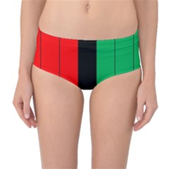Kwanzaa Colors African American Red Black Green  Mid Waist Bikini Bottoms by yoursparklingshop