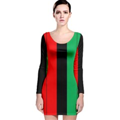Kwanzaa Colors African American Red Black Green  Long Sleeve Velvet Bodycon Dress by yoursparklingshop
