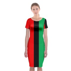 Kwanzaa Colors African American Red Black Green  Classic Short Sleeve Midi Dress by yoursparklingshop