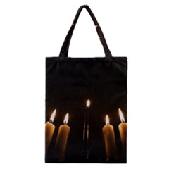 Hanukkah Chanukah Menorah Candles Candlelight Jewish Festival Of Lights Classic Tote Bag by yoursparklingshop