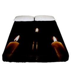 Hanukkah Chanukah Menorah Candles Candlelight Jewish Festival Of Lights Fitted Sheet (queen Size) by yoursparklingshop