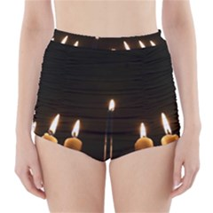 Hanukkah Chanukah Menorah Candles Candlelight Jewish Festival Of Lights High Waisted Bikini Bottoms by yoursparklingshop