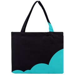 Black And Cyan Mini Tote Bag by Valentinaart