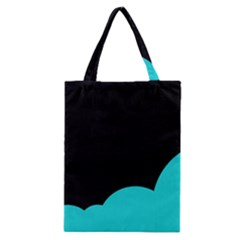 Black And Cyan Classic Tote Bag by Valentinaart
