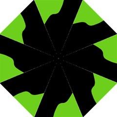 Black And Green Hook Handle Umbrellas (large) by Valentinaart