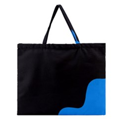 Blue And Black Zipper Large Tote Bag by Valentinaart