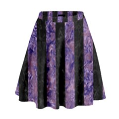 Stripes1 Black Marble & Purple Marble High Waist Skirt by trendistuff