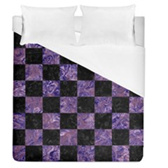 Square1 Black Marble & Purple Marble Duvet Cover (queen Size) by trendistuff