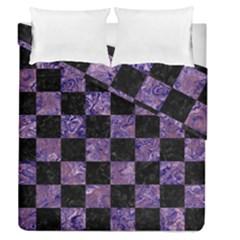 Square1 Black Marble & Purple Marble Duvet Cover Double Side (queen Size) by trendistuff