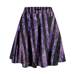 Skin4 Black Marble & Purple Marble (r) High Waist Skirt by trendistuff