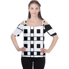 Black And White Pattern Women s Cutout Shoulder Tee