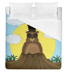 Happy Groundhog Day Duvet Cover (queen Size) by Valentinaart