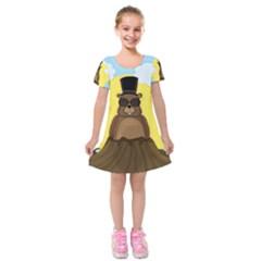 Happy Groundhog Day Kids  Short Sleeve Velvet Dress