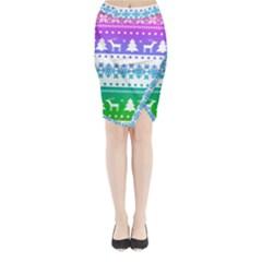 Cute rainbow bohemian Midi Wrap Pencil Skirt by Brittlevirginclothing