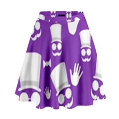 Gentleman pattern - purple and white High Waist Skirt by Valentinaart