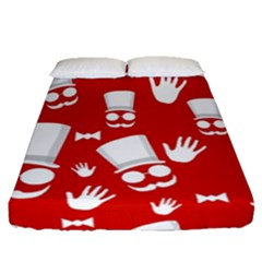 Gentlemen   Red And White Pattern Fitted Sheet (queen Size)