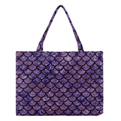 Scales1 Black Marble & Purple Marble (r) Medium Tote Bag by trendistuff