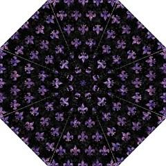 Royal1 Black Marble & Purple Marble (r) Hook Handle Umbrella (large) by trendistuff