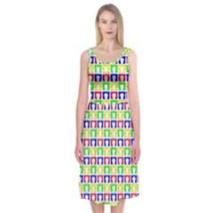Colorful Curtains Seamless Pattern Midi Sleeveless Dress by Amaryn4rt