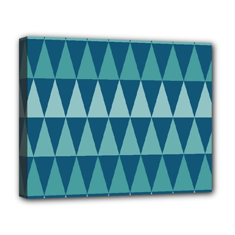 Blues Long Triangle Geometric Tribal Background Deluxe Canvas 20  X 16   by AnjaniArt