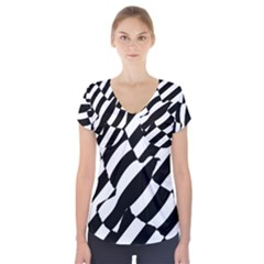 Flaying Bird Black White Short Sleeve Front Detail Top by AnjaniArt